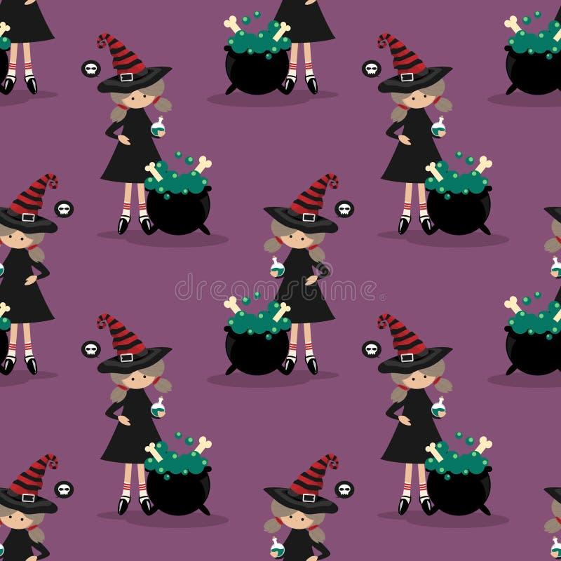 Nahtloses Muster Halloweens mit junger Hexe lizenzfreie abbildung