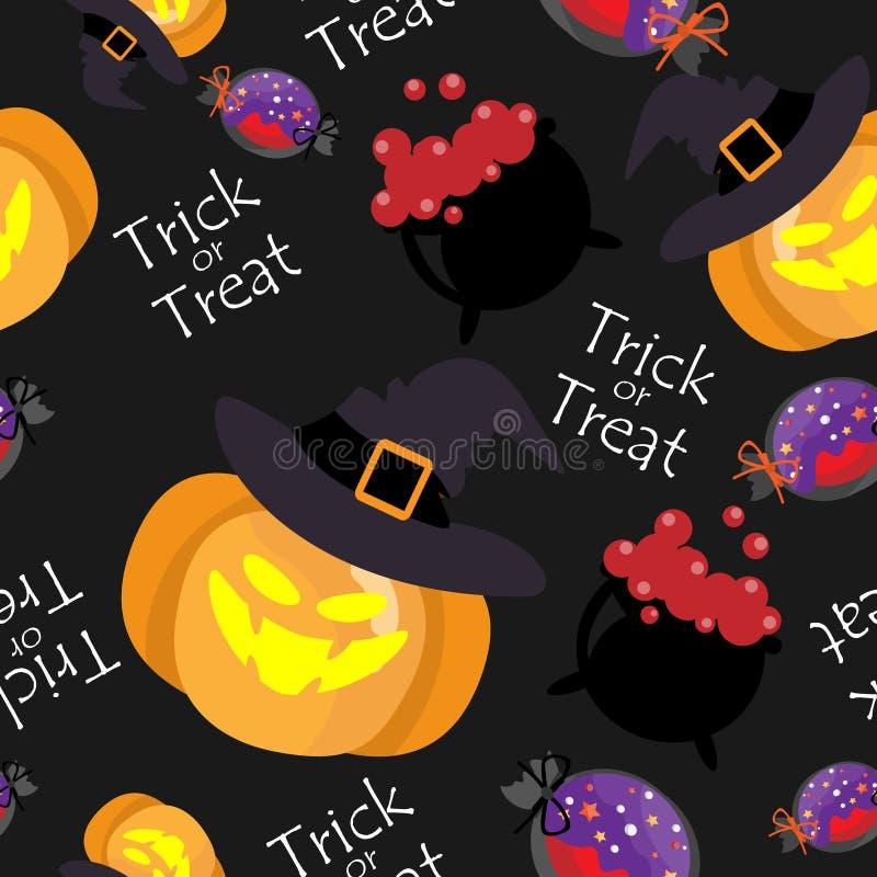 Nahtloses Muster Halloweens mit Kürbis mit Hexenhut stock abbildung