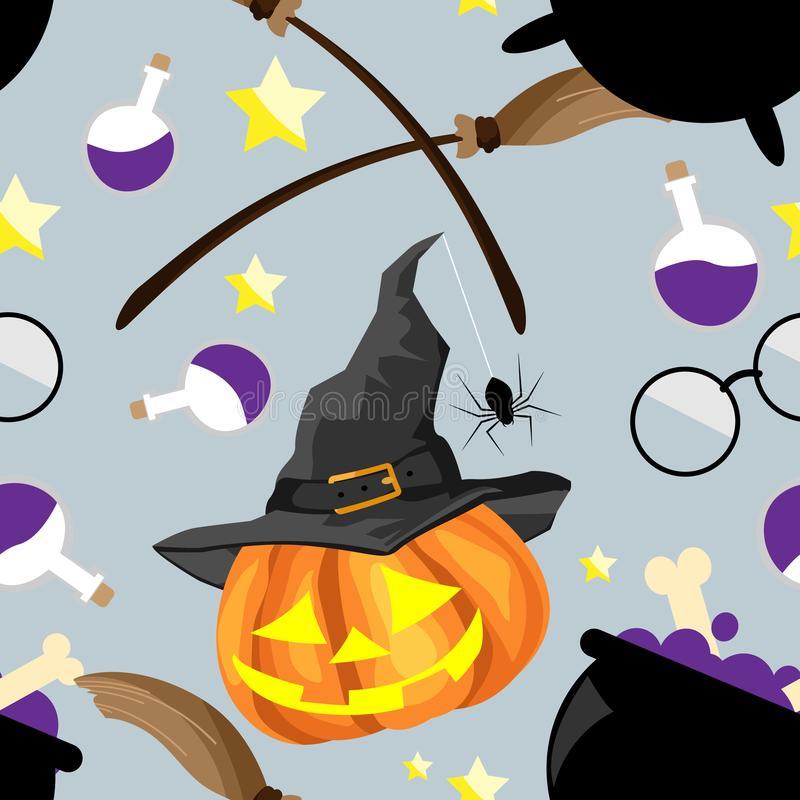 Nahtloses Muster Halloweens mit nettem Halloween-K?rbis lizenzfreie abbildung