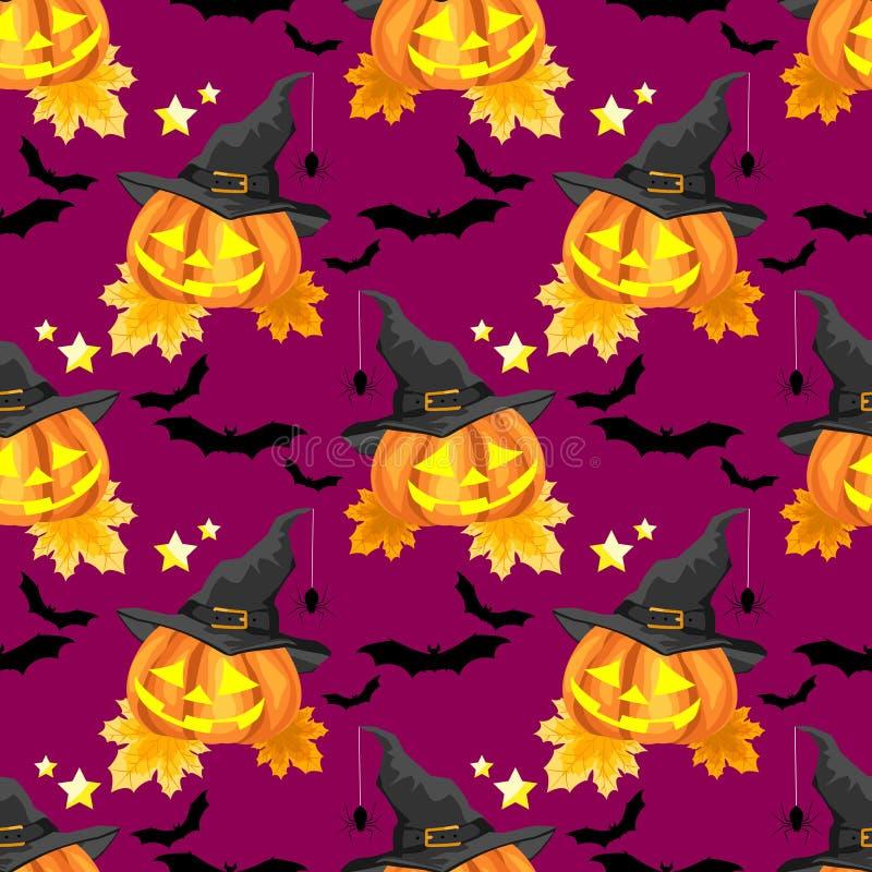 Nahtloses Muster Halloweens mit nettem Halloween-K?rbis stock abbildung
