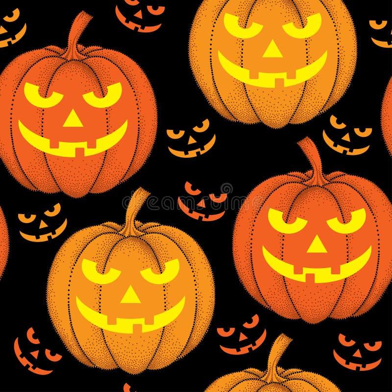 Nahtloses Muster Halloweens mit punktierten Kürbisen in der Orange stock abbildung