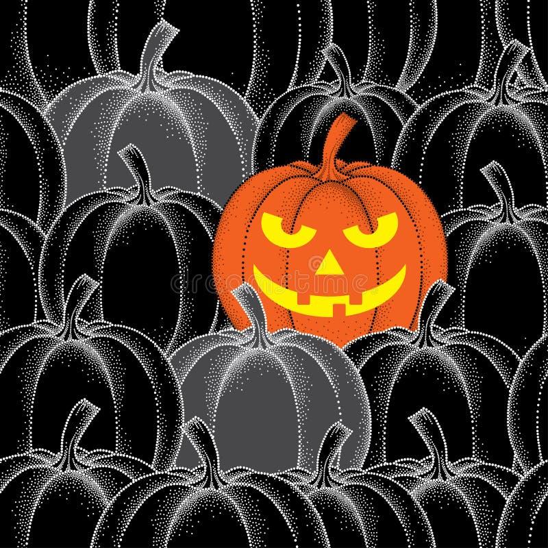 Nahtloses Muster Halloweens mit punktierten Kürbisen in der Orange und im Schwarzen stock abbildung