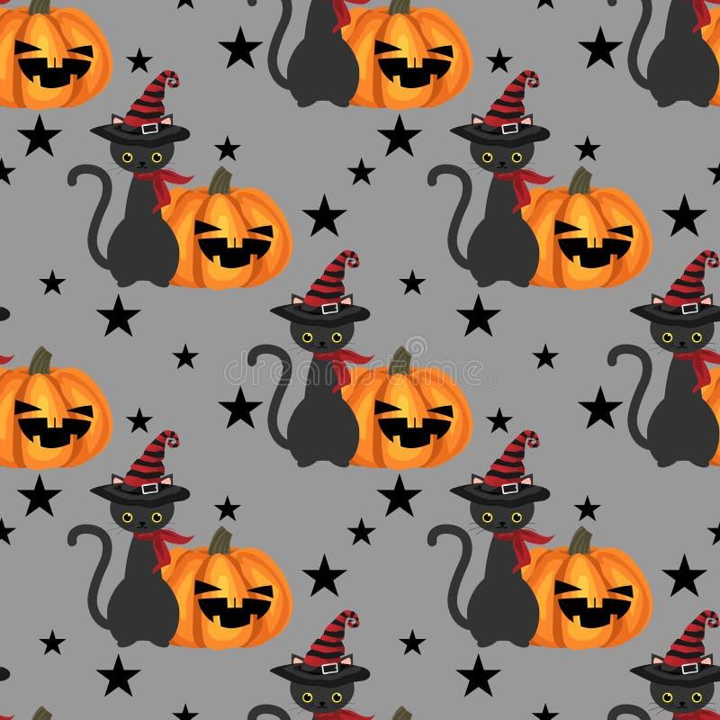Nahtloses Muster Halloweens mit schwarzer Katze lizenzfreie abbildung