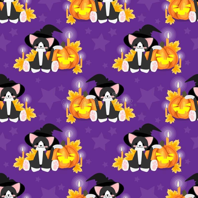 Nahtloses Muster Halloweens mit schwarzer Katze mit Hexenhut und Halloween-Kürbis vektor abbildung