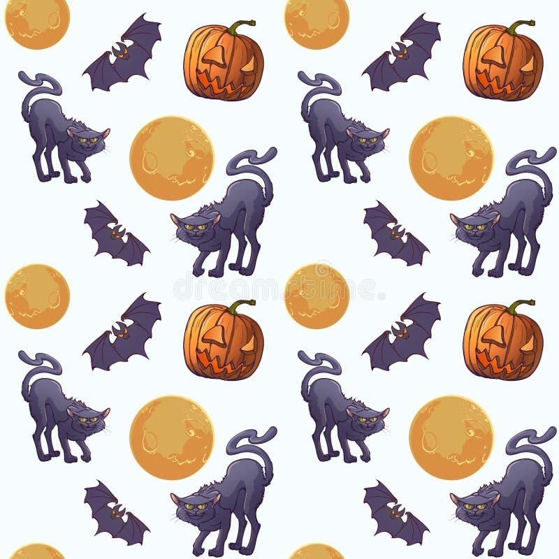 Nahtloses Muster Halloweens Schläger und Mond der schwarzen Katzen Vertikaler Rhythmus Getrennt auf weißem Hintergrund lizenzfreie abbildung