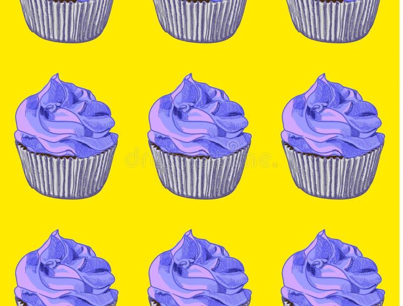 Nahtloses Muster Hand gezeichnete kleine Kuchen auf gelbem Hintergrund Bue-Creme Vektor vektor abbildung