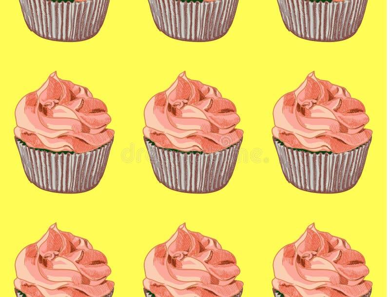 Nahtloses Muster Hand gezeichnete kleine Kuchen auf gelbem Hintergrund Rote Sahne Vektor stock abbildung