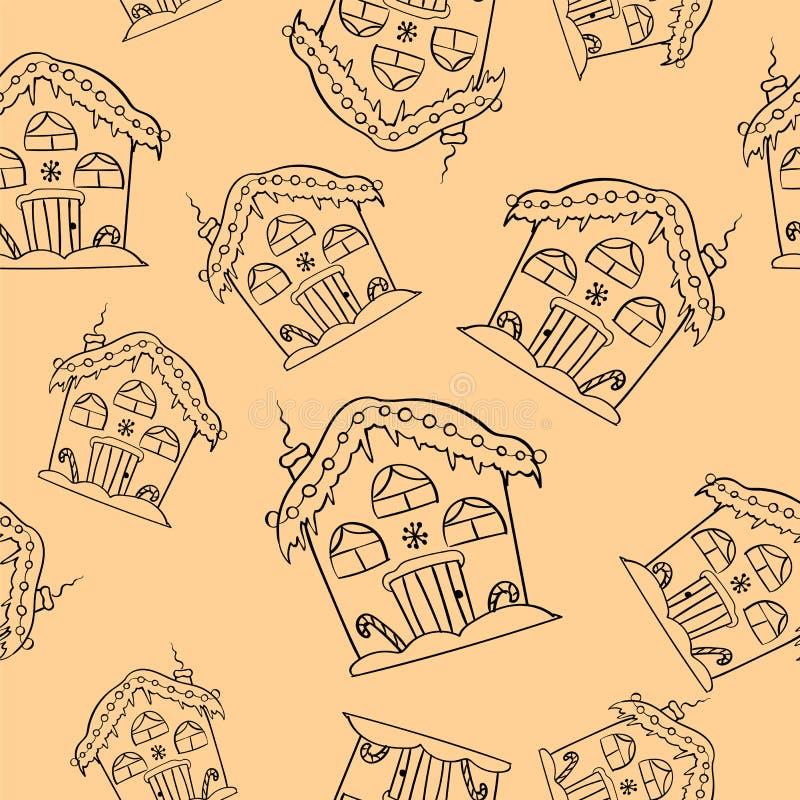 Nahtloses Muster Handder gezogenen Weihnachtshäuser Netter Haushintergrund Gravierte Artillustration vektor abbildung
