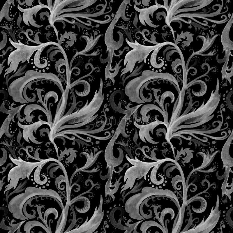 Nahtloses Muster Handdes gezogenen Zusammenfassungs-Aquarells mit silberner grauer Blumenverzierung, Locken, gewellte Linien, Gek stock abbildung