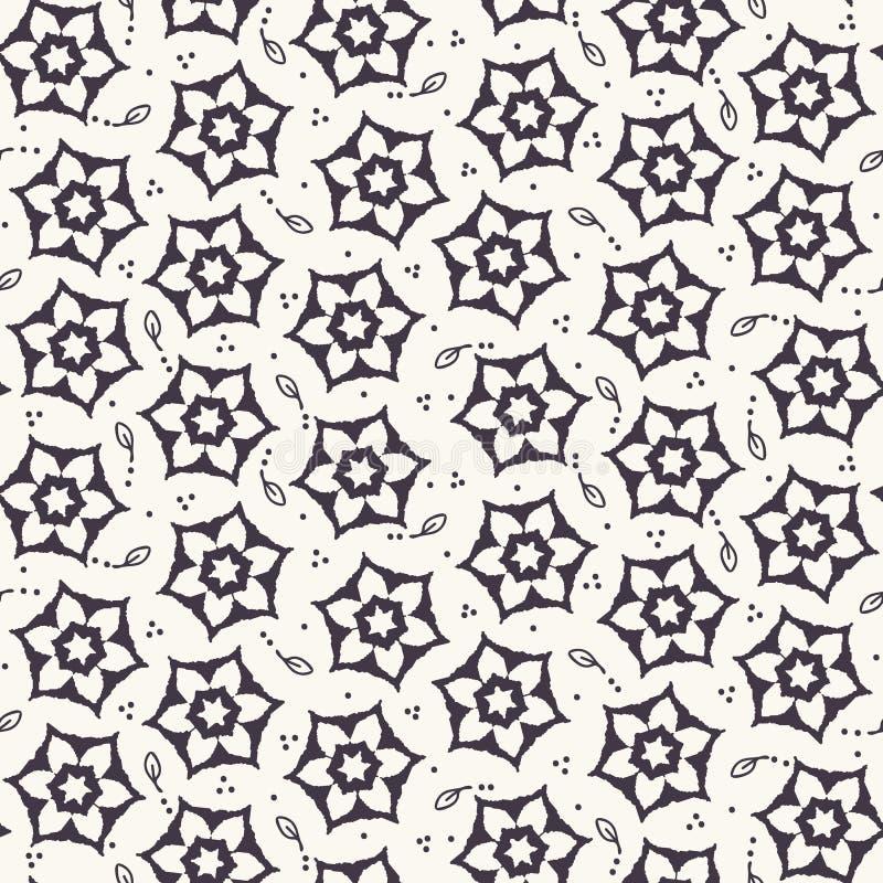 Nahtloses Muster, handgezeichnet, mit Zierblumen gezeichnet, daisy motif Stilisierter Alloverdruck Vector Blumenblatt-Kunstschau stock abbildung