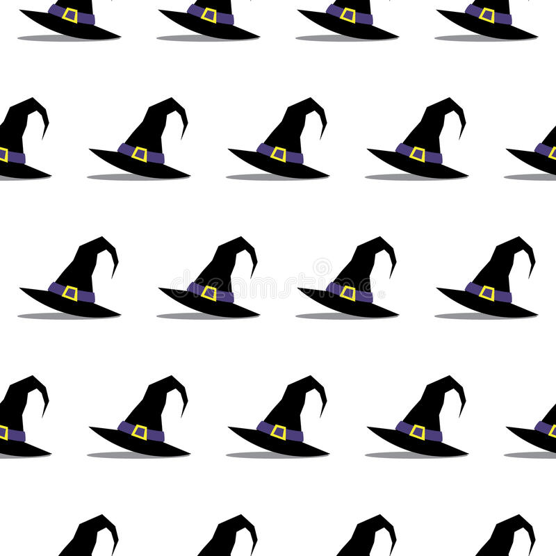 Nahtloses Muster Hexen-Hut-Halloweens stock abbildung