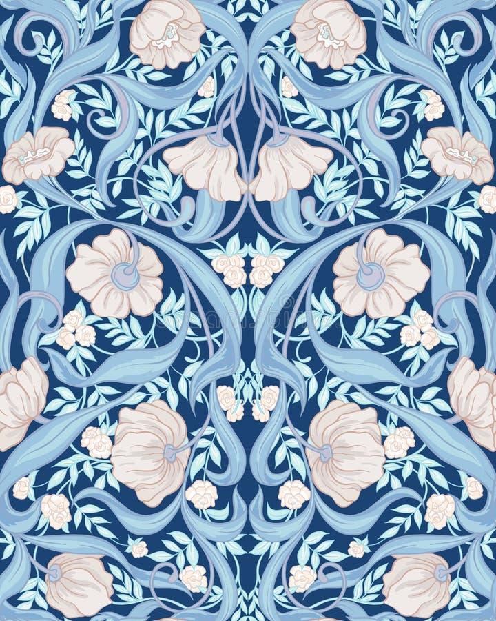 Nahtloses Muster, Hintergrund mit Blumenmuster im Jugendstil vektor abbildung