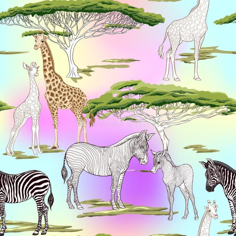 Nahtloses Muster, Hintergrund mit erwachsenem Zebra und Giraffe und Zebra und Giraffenjunge Auch im corel abgehobenen Betrag lizenzfreie abbildung