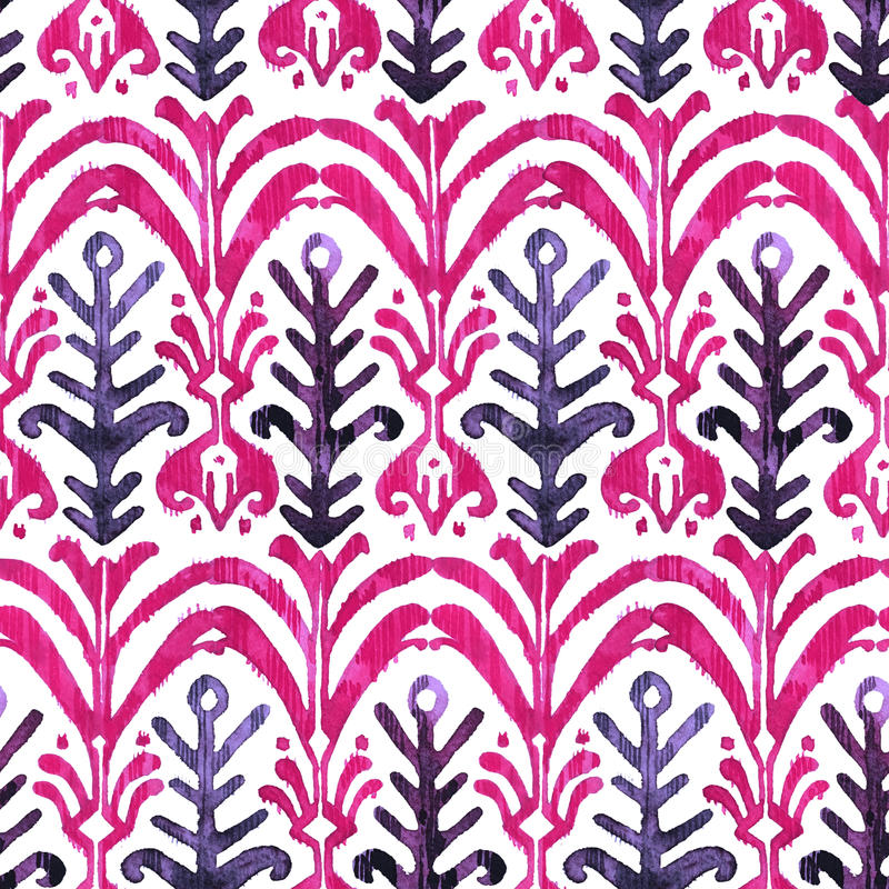 Nahtloses Muster Ikat-Aquarells Vibrierender Mit Blumenwatercolour lizenzfreie stockfotografie