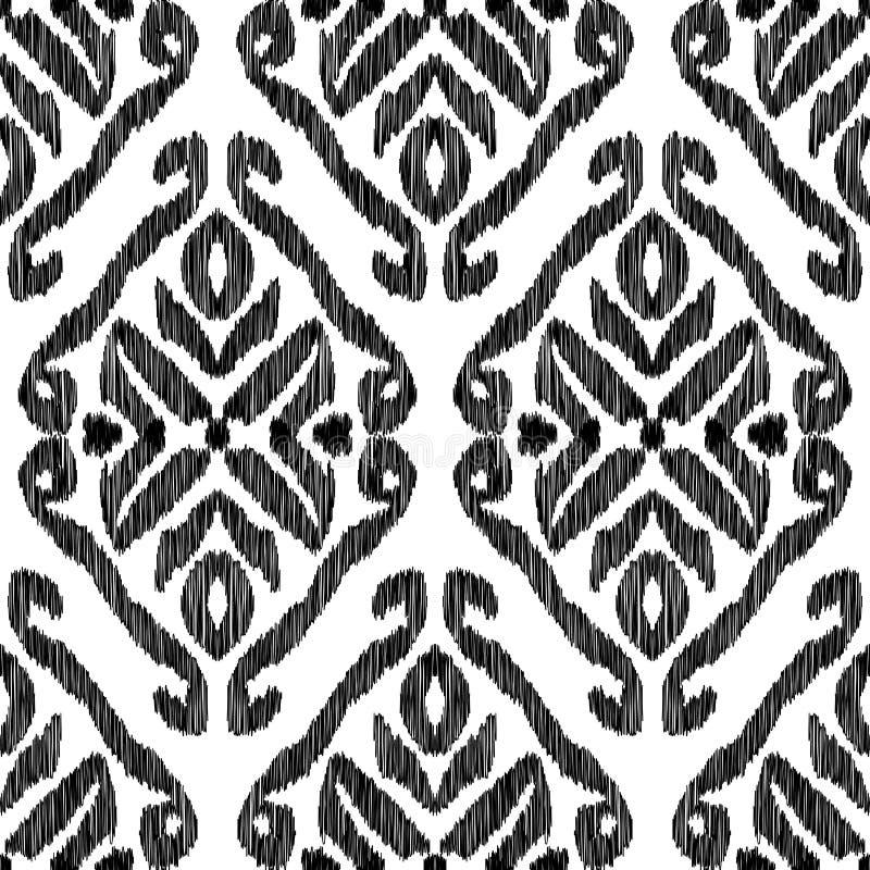 Nahtloses Muster Ikat Modetapete stock abbildung