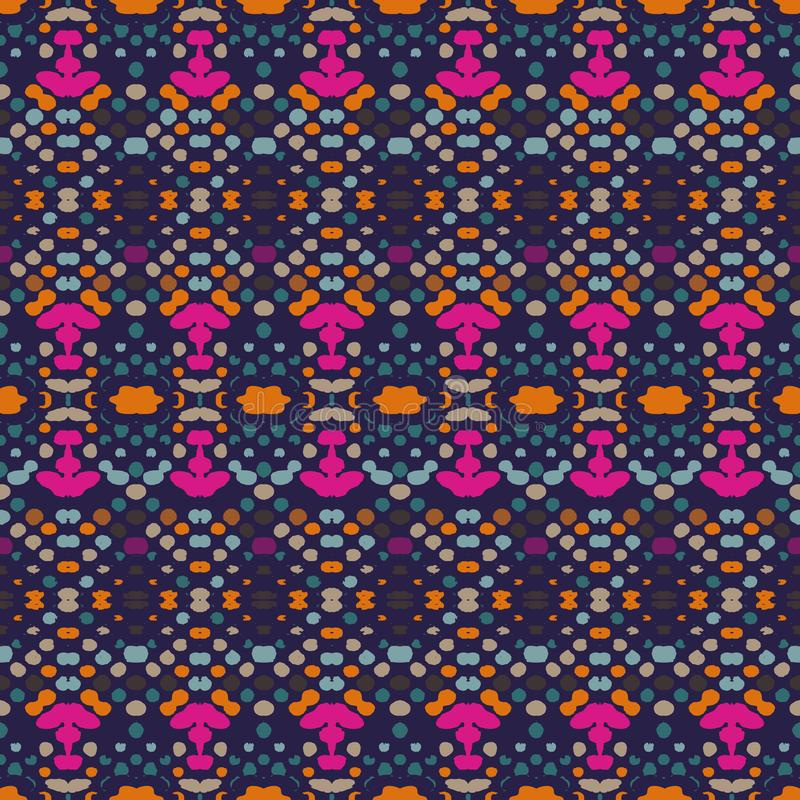 Nahtloses Muster Ikat Vektorbindungsf?rbung shibori Druck mit Streifen und Sparren Strukturierter Hintergrund der Tinte Patchwork lizenzfreie abbildung