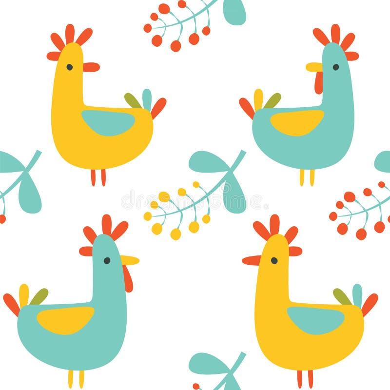 Nahtloses Muster: illustartion von Retro- farbigen Vögeln stock abbildung