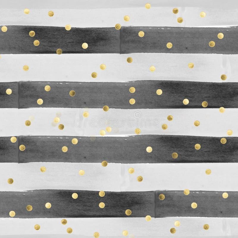 Nahtloses Muster im Aquarelleffekt - horizontale Streifen in Schwarzem und in Grauem mit Goldkonfettis lizenzfreie abbildung