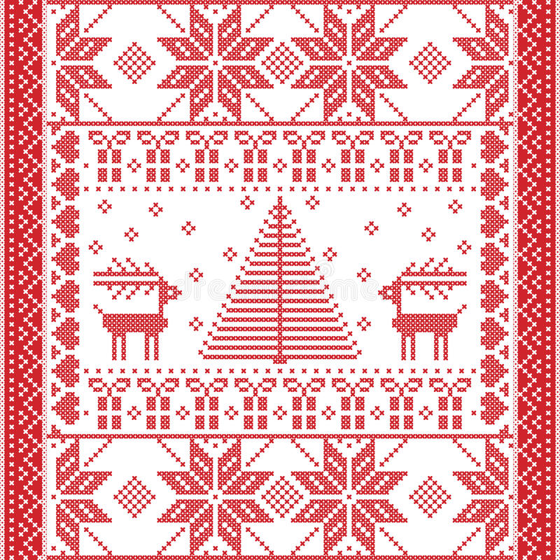 Nahtloses Muster im Kreuzstich mit Weihnachtsbaum, Schneeflocken, Geschenken, Ren, Herzen und Verzierungen stock abbildung