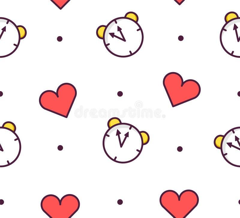 Nahtloses Muster im Tupfen mit Wecker und Herzen auf weißem Hintergrund Dünne Linie flaches Design Vektor lizenzfreie abbildung