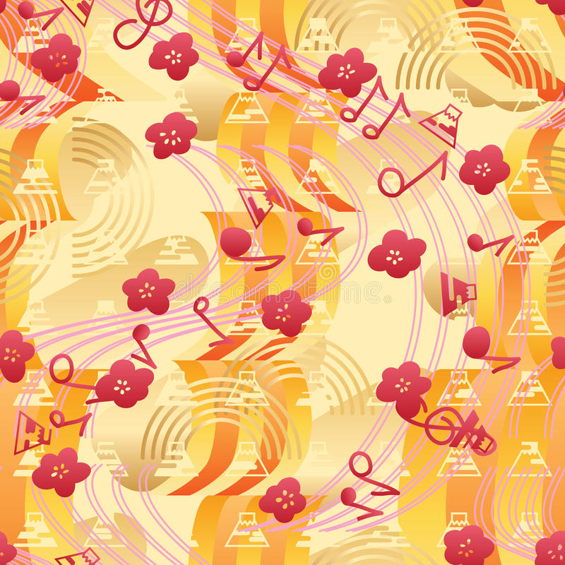 Nahtloses Muster Japan-Musik Sakura Fujis vektor abbildung