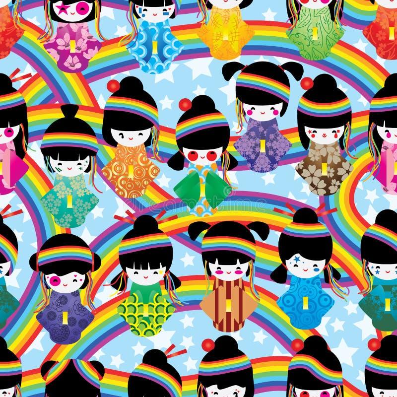 Nahtloses Muster japanischen Puppenmädchen Harajuku-Regenbogens lizenzfreie abbildung