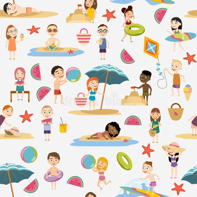 Nahtloses Muster Jungen und Mädchen in der Sommerkleidung und -badeanzügen stock abbildung