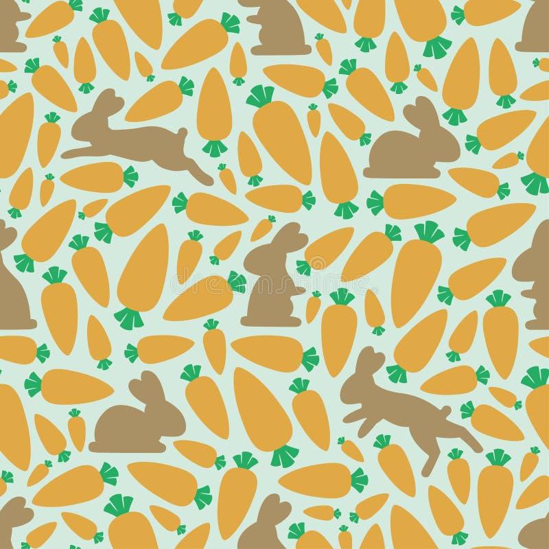 Nahtloses Muster: Karotten und Häschen stock abbildung