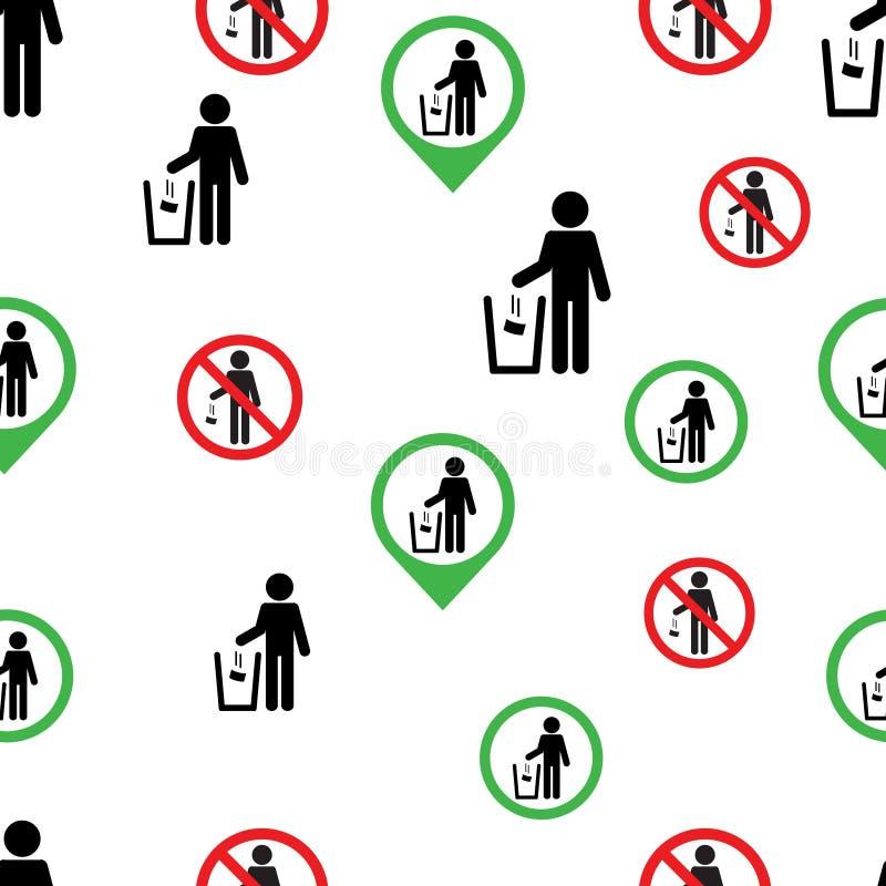 Nahtloses Muster kein Abfallzeichensymbollogo lizenzfreie abbildung