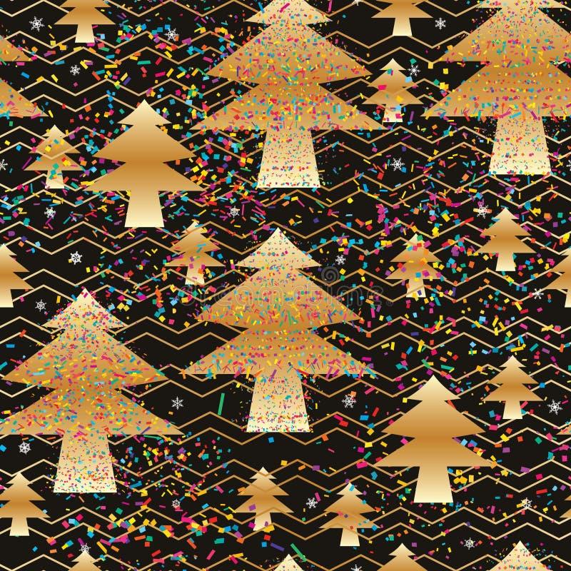 Nahtloses Muster Kiefergoldverrücktes buntes Chevrons vektor abbildung