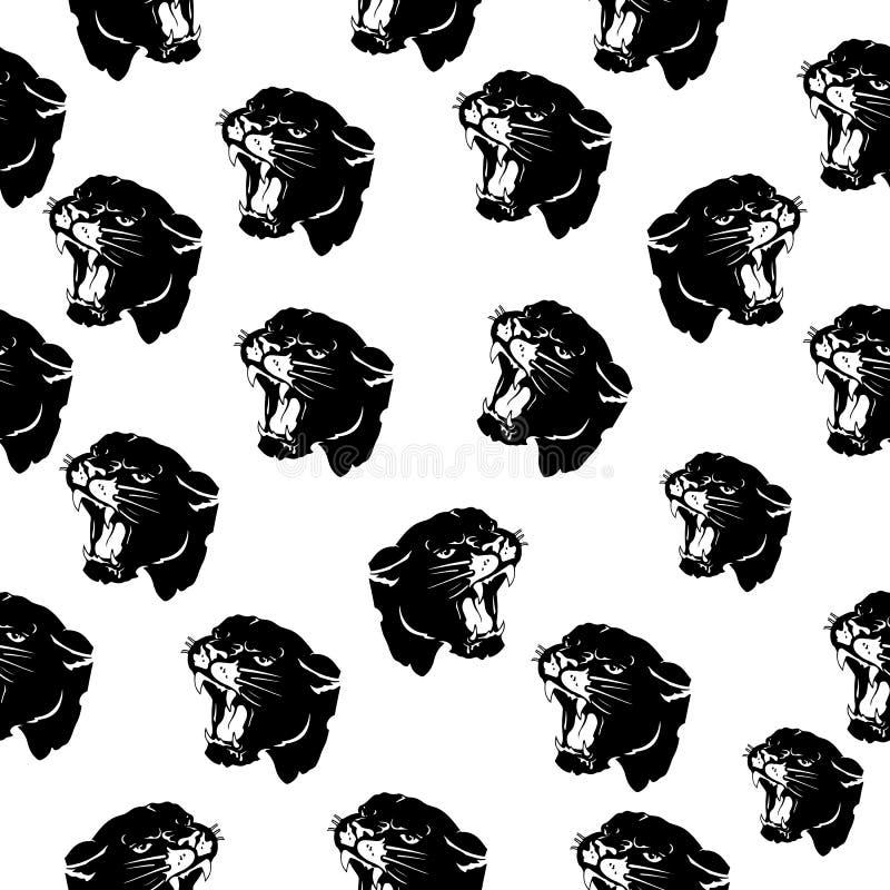 Nahtloses Muster, Kopf des aggressiven verärgerten Panthers, schwarzes Schattenbild auf weißem Hintergrund vektor abbildung