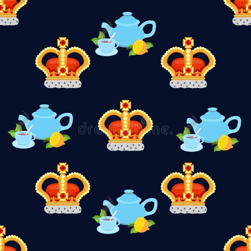 Nahtloses Muster Kronenmonarchen Und Tee Mit Den Hehren