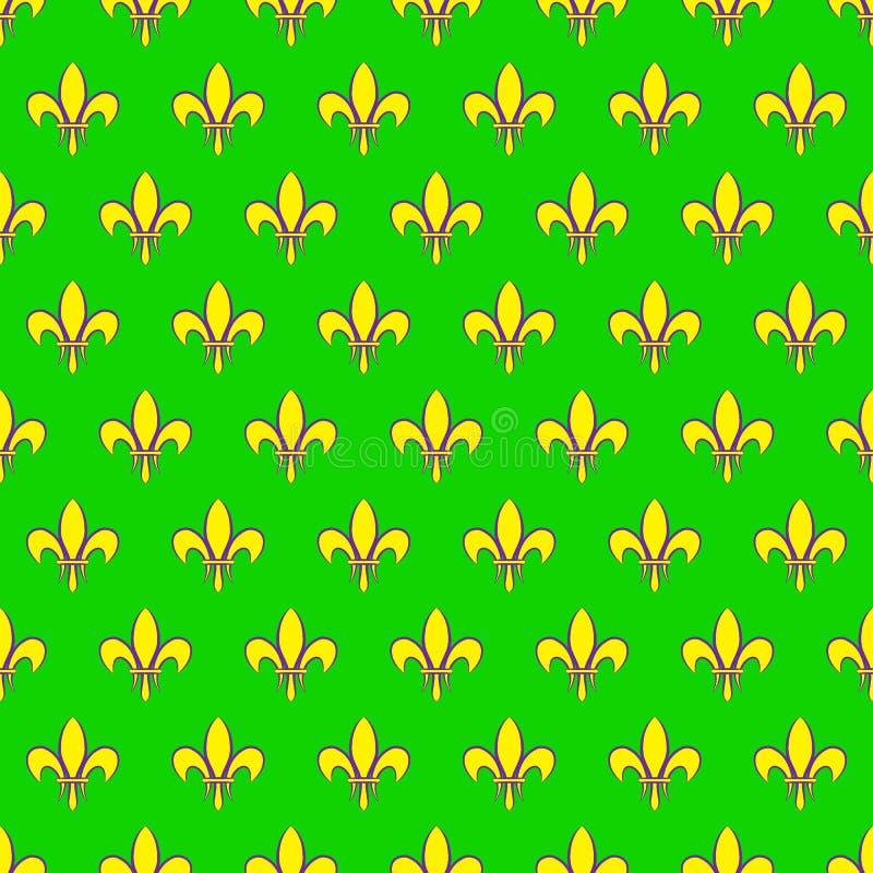 Nahtloses Muster Mardi Grass mit Fleur de Lis oder Lilienikone Flache Elemente der gelben Farbe auf einem grünen Hintergrund Fest vektor abbildung