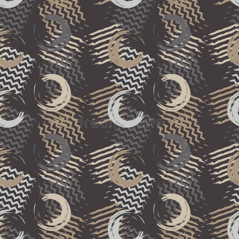 Nahtloses Muster Memphis brushwork stock abbildung