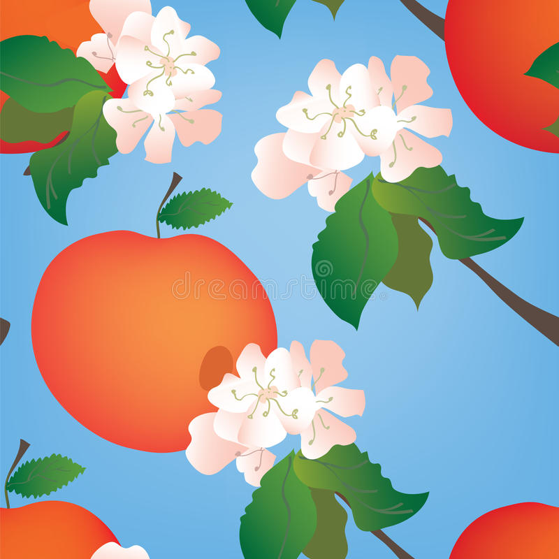 Nahtloses Muster mit Äpfeln stock abbildung