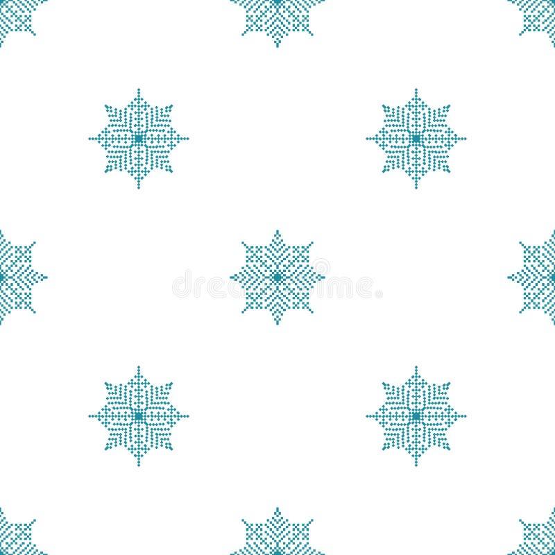 Nahtloses Muster mit abstrakte Schneeflocken hellem Weihnachtshintergrund vektor abbildung