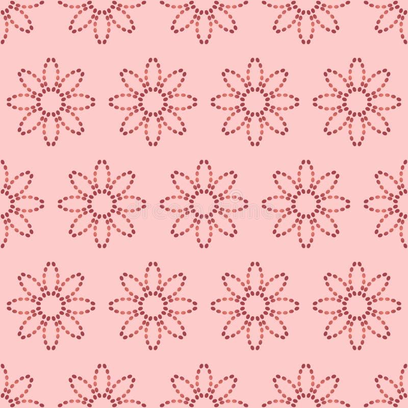 Nahtloses Muster mit abstrakten Blumen von punktierten Linien Vektorhintergrund in den Schatten des Rosas stock abbildung