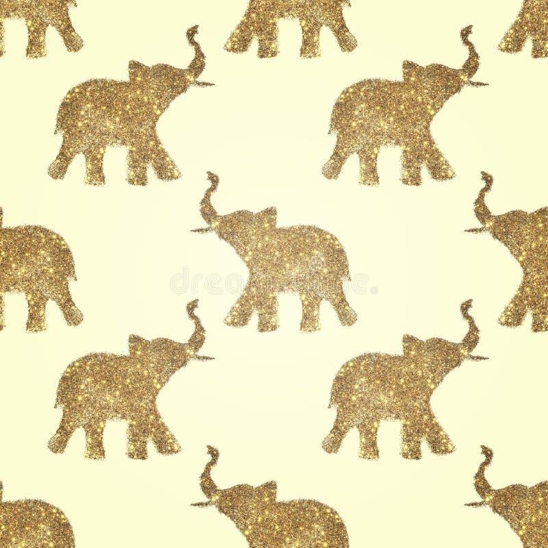 Nahtloses Muster mit abstrakten Elefanten des Funkelns Ihre Stämme hoben oben - Symbol des guten Glücks an stock abbildung