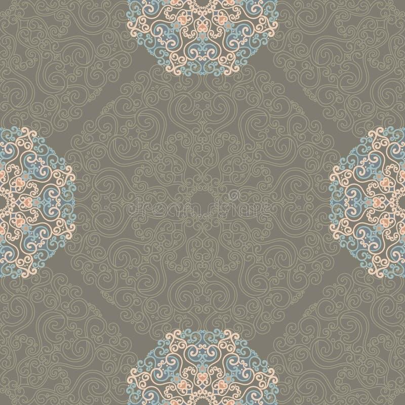 Nahtloses Muster mit abstrakten Elementen, Damastfliesen vektor abbildung