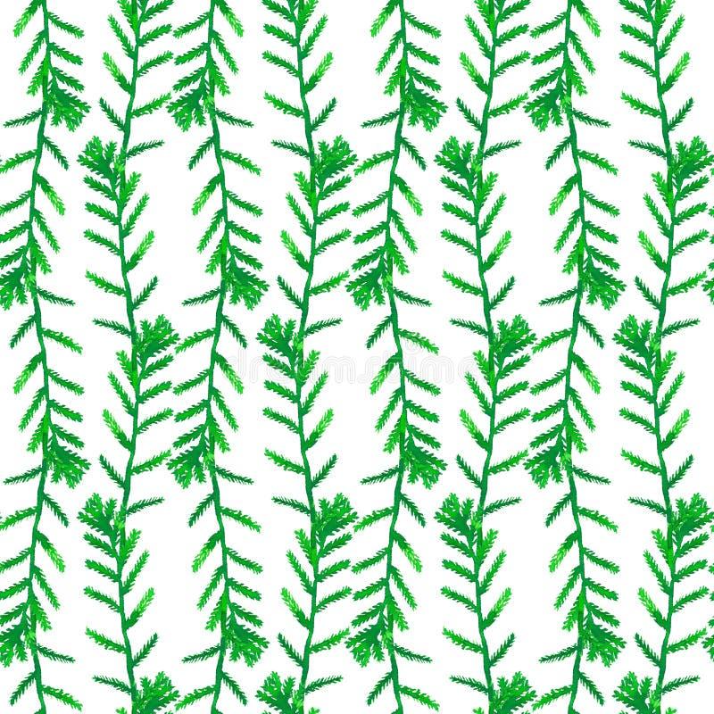 Nahtloses Muster mit abstrakten Gr?npflanzen lizenzfreie stockfotografie