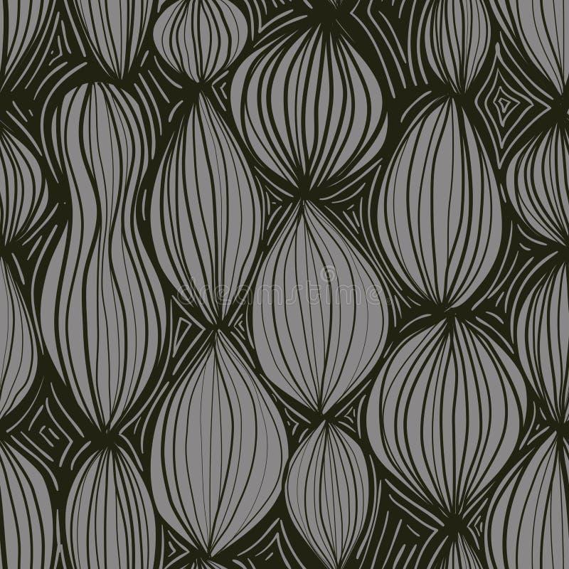 Nahtloses Muster mit abstrakten runden Elementen in der grauen Farbe auf schwarzem Hintergrund vektor abbildung