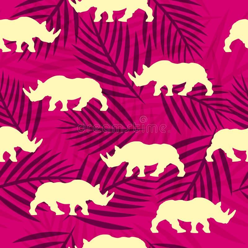 Nahtloses Muster mit afrikanischem Nashorn und Palmblättern lizenzfreie stockfotos