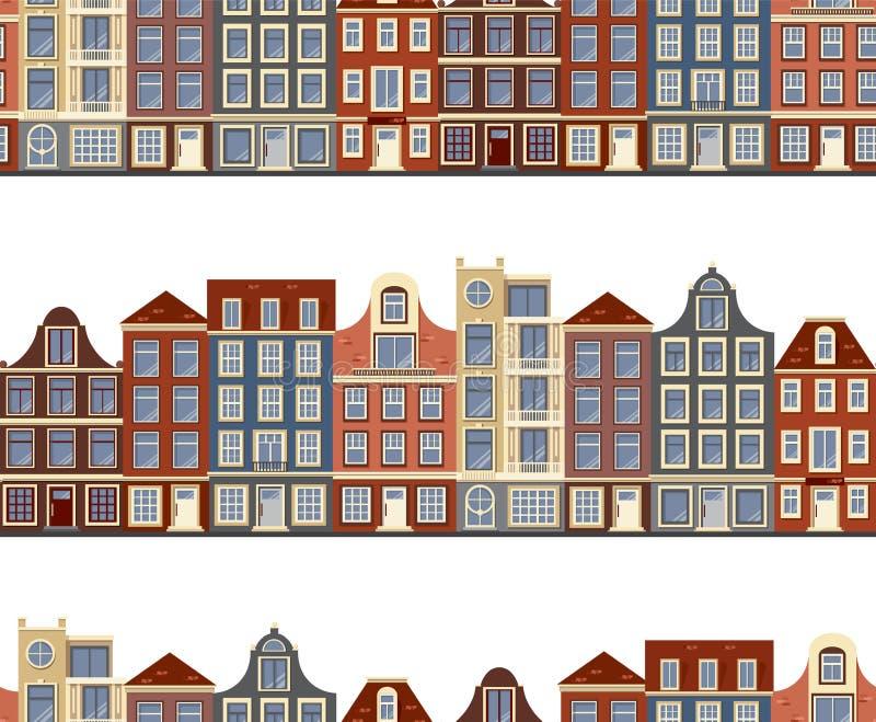 Nahtloses Muster mit alten historischen Gebäuden von Amsterdam Flache Artvektorillustration lizenzfreie stockfotografie