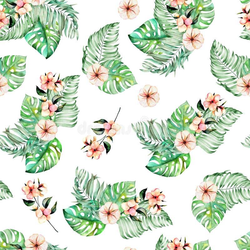 Nahtloses Muster mit Aquarell Palme und monstera verlässt, exotische rosa Blumen lizenzfreie abbildung