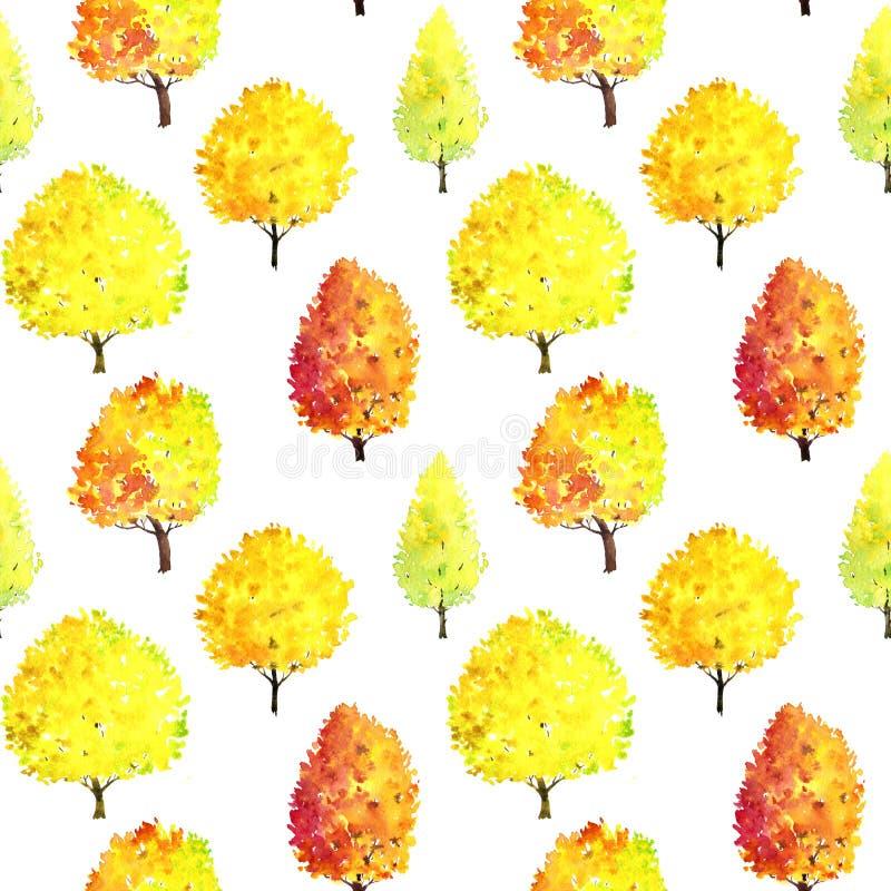 Nahtloses Muster mit Aquarellbäumen lizenzfreies stockbild