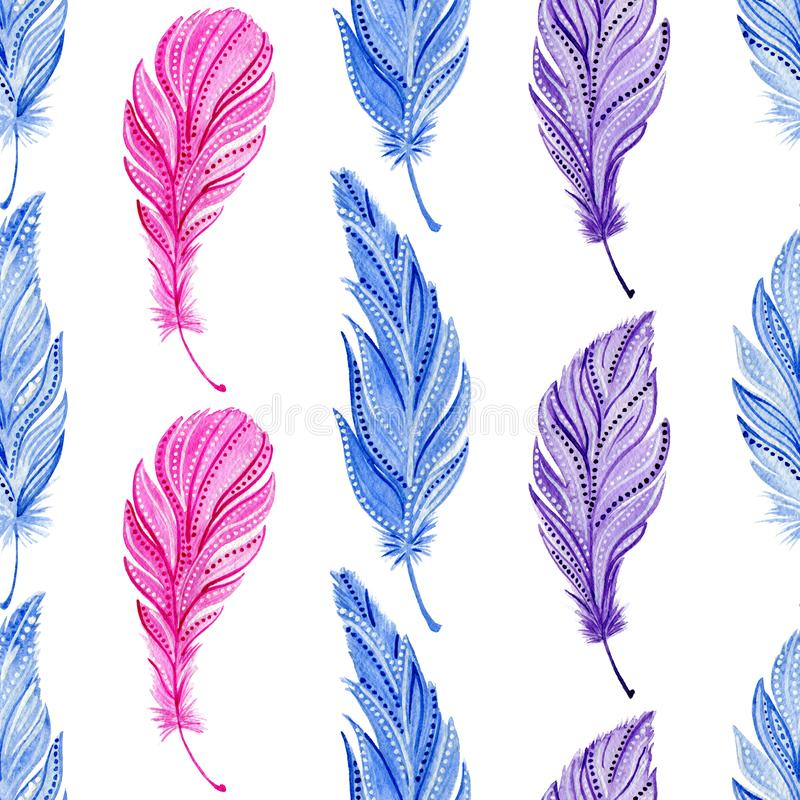 Nahtloses Muster mit Aquarellblau, Rosa, purpurrote Federn Boho-Art stock abbildung