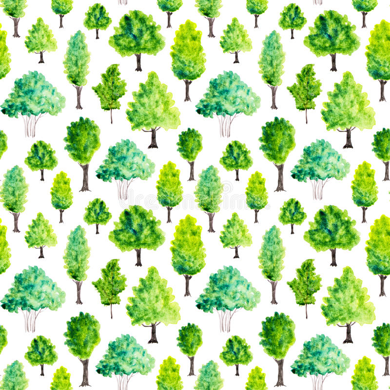 Nahtloses Muster mit Aquarellgrünbäumen Feld des grünen Grases gegen einen blauen Himmel mit wispy weißen Wolken stock abbildung