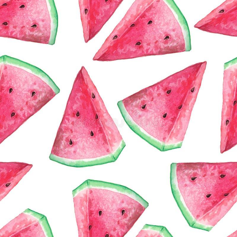 Nahtloses Muster mit Aquarellwassermelone lizenzfreies stockfoto