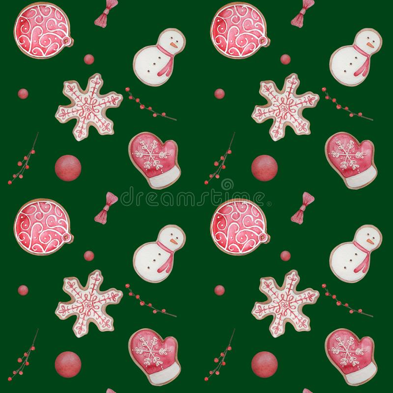 nahtloses Muster mit Aquarellweihnachtsingwerplätzchen vektor abbildung