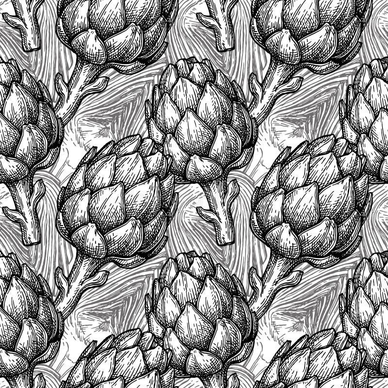 Nahtloses Muster mit Artischocke lizenzfreie abbildung